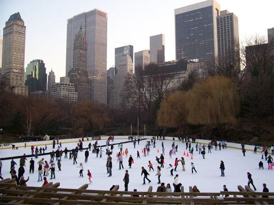 pista de patinação no gelo no central park