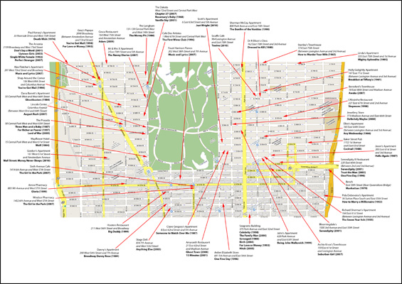 New York Film Location Maps and Apartments On the Set of New – New York City Tourist Map PDF